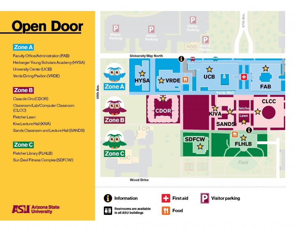 ASU Open Door 2020 - West Campus Map