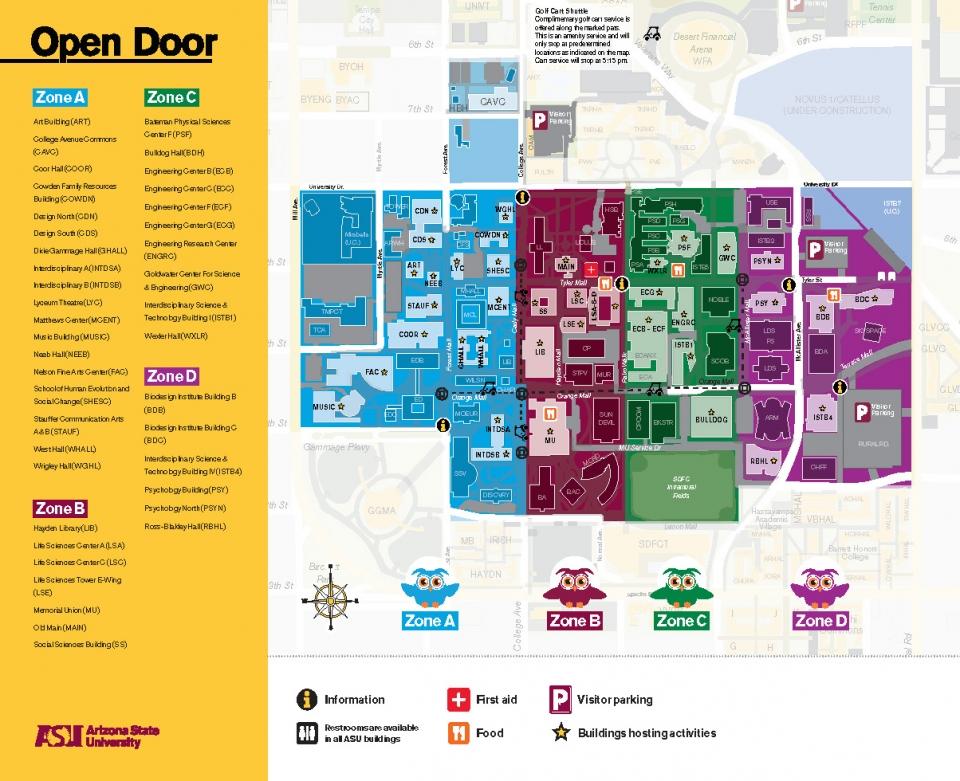 ASU Open Door @ Tempe 2020 map